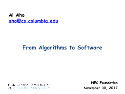 From Algorithms to Software