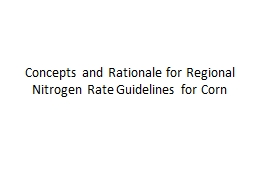 Concepts and Rationale for Regional Nitrogen Rate
