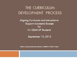 The Curriculum  Development Process