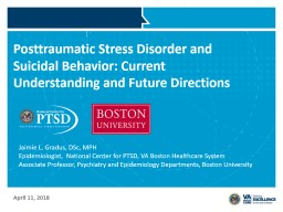 Posttraumatic Stress Disorder and Suicidal Behavior: Current Understanding and Future Directions