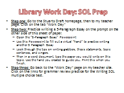 Library Work Day: SOL Prep