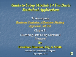 Guide to Using Minitab 14 For Basic Statistical Applications
