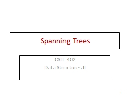 Spanning Trees CSIT 402 Data Structures II