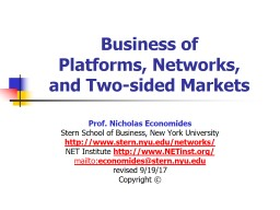 Business of  Platforms, Networks,