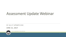 Assessment Update Webinar