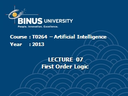 Course	:  T 0264 – Artificial Intelligence