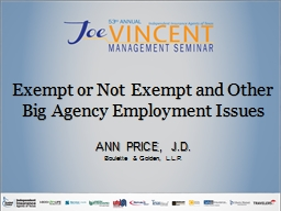 Exempt or Not Exempt and Other Big Agency Employment Issues