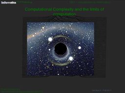 Computational Complexity and the limits of computation