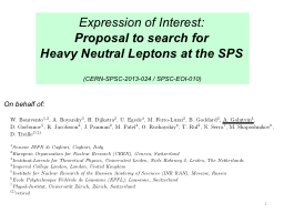 Expression of Interest: Proposal to search for PowerPoint PPT Presentation