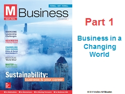Part 1 Business in a Changing World