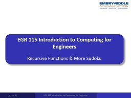EGR 115 Introduction to Computing for Engineers