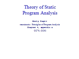 Theory of Static  Program Analysis