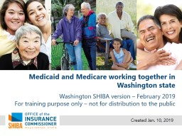 Medicaid and Medicare working together in Washington state
