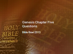 Genesis Chapter Five Questions