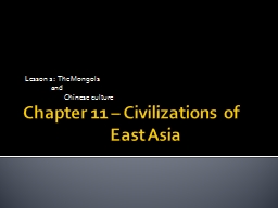 Chapter 11 – Civilizations of