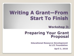 Writing A Grant—From Start To Finish PowerPoint PPT Presentation