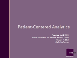 Patient-Centered Analytics