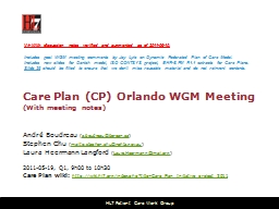 Care Plan (CP) Orlando WGM Meeting