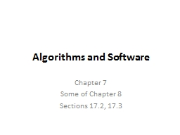 Algorithms and Software Chapter 7
