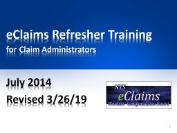 eClaims Refresher Training