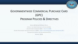 Governmentwide Commercial Purchase Card (GPC)