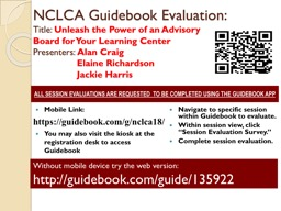 NCLCA Guidebook Evaluation:
