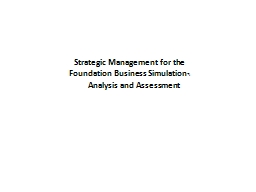 1 Strategic Management for the