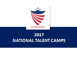 2017 NATIONAL TALENT CAMPS