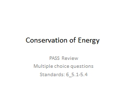 Conservation of Energy PASS Review