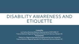 Disability Awareness and Etiquette PowerPoint PPT Presentation