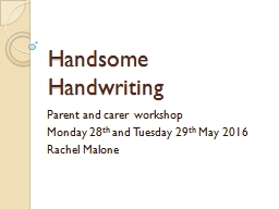 Handsome Handwriting Parent and carer workshop