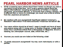 Pearl Harbor News Article