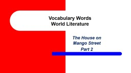 Vocabulary Words World Literature