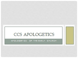 Apologetics of the Early Church