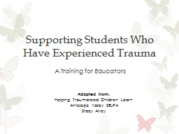 Supporting Students Who Have Experienced Trauma