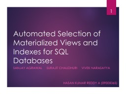 Automated Selection of Materialized Views and Indexes for SQL Databases PowerPoint Presentation, PPT - DocSlides