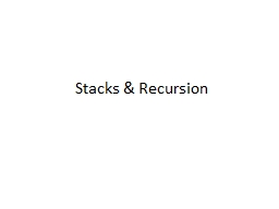 Stacks & Recursion Stack