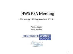 HWS PSA Meeting Thursday 13