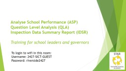 Analyse School Performance (ASP)