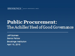 Public Procurement:  The Achilles' Heel of Good Governance
