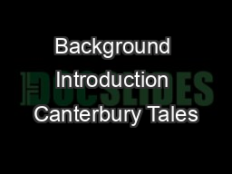 Background Introduction Canterbury Tales