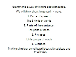 Grammar is a way of thinking about language.