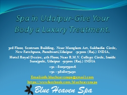 Spa in Udaipur-Give Your Body a Luxury Treatment.