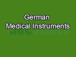 German Medical Instruments PDF document - DocSlides
