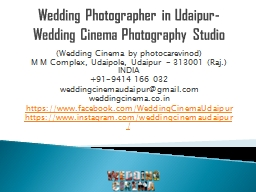 Wedding Photographer in Udaipur-Wedding Cinema Photography Studio