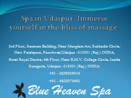 Spa in Udaipur- Immerse yourself in the bliss of massage.