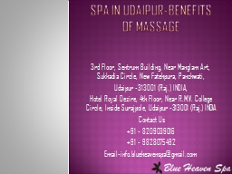 Spa in Udaipur-Benefits of Massage