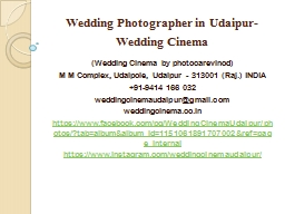 Wedding Photographer in Udaipur-Wedding Cinema