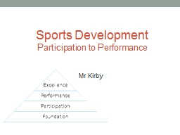 Sports Development  Participation to Performance Mr Kirby Olympic Sport Funding