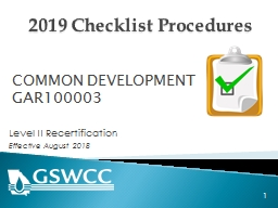 2019 Checklist Procedures Level  II   Recertification  Effective August 2018